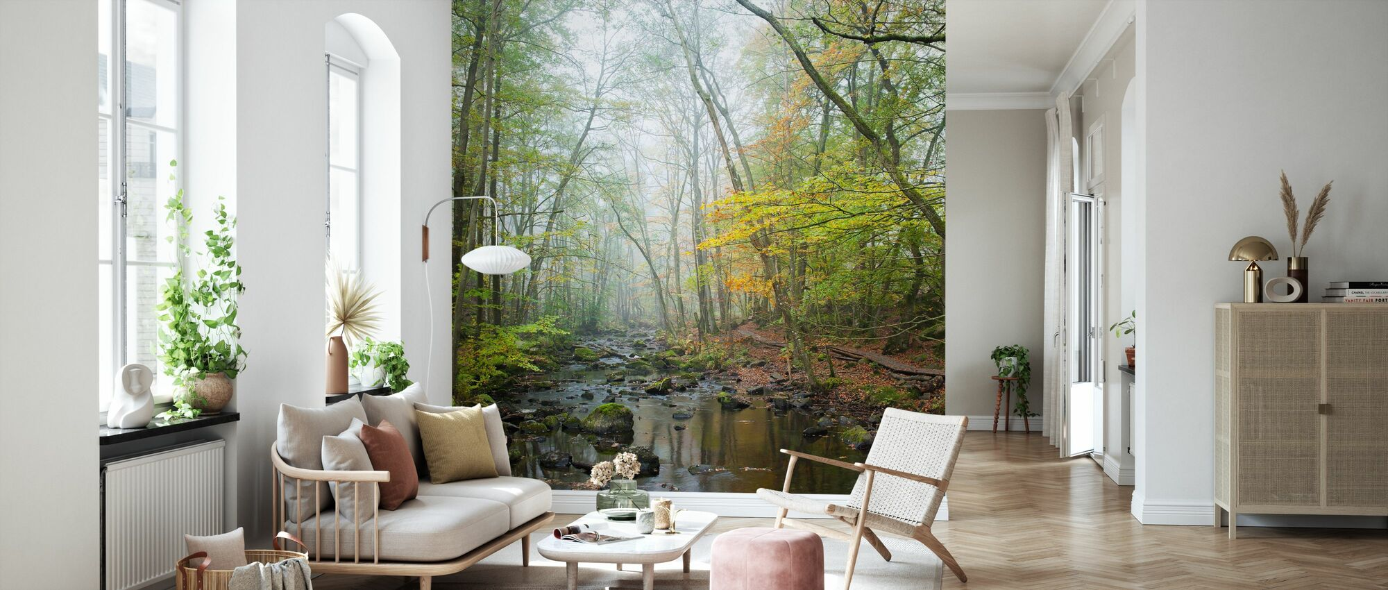 Stream in Swedish Beech Forest I - Wallpaper - Living Room