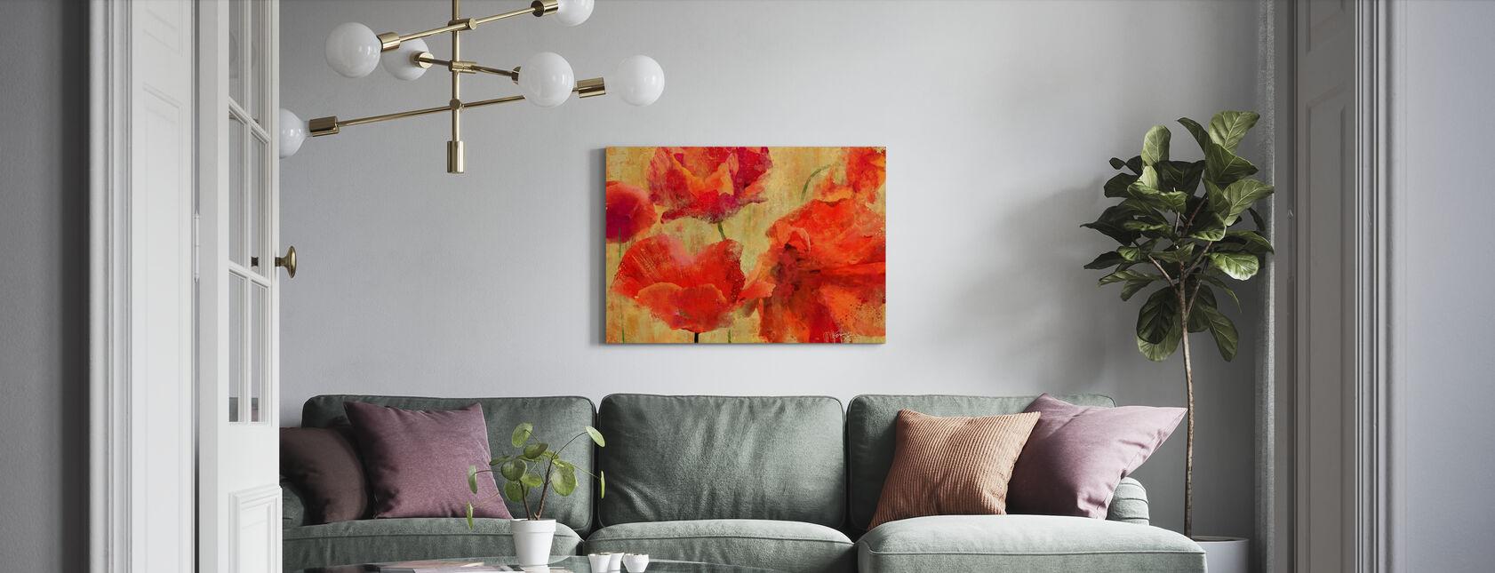 Ekspressive Blomster - Billede på lærred - Stue