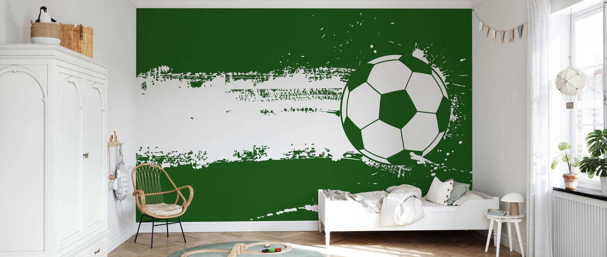 Green Soccer - Wallpaper - Kids Room