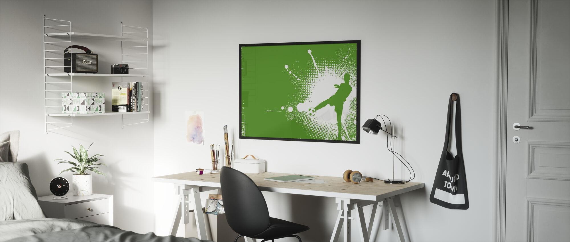 Voetbalspeler Groen - Ingelijste print - Kinderkamer