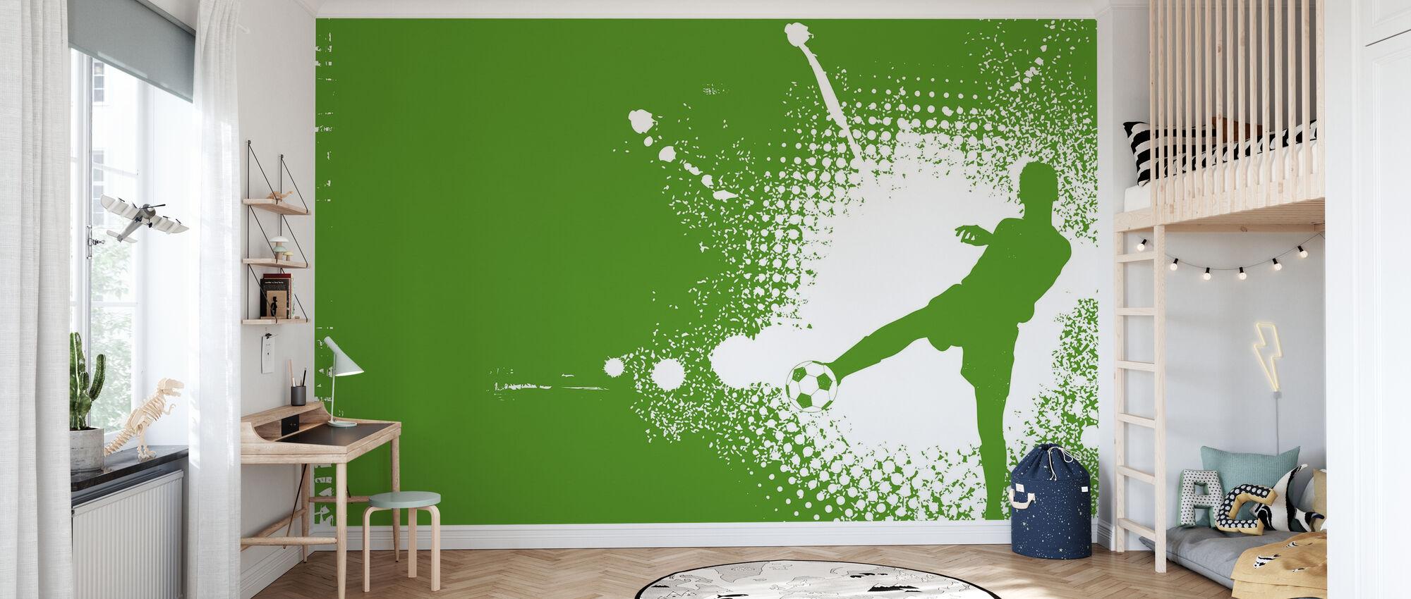 Voetbalspeler Groen - Behang - Kinderkamer