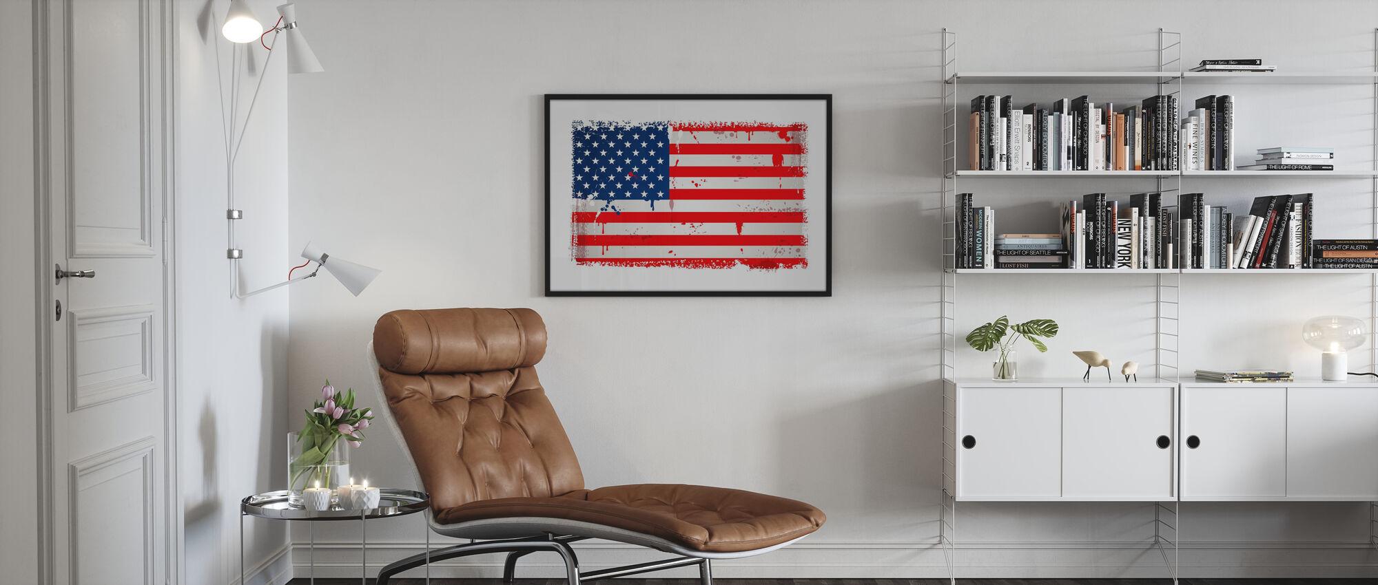 Verenigde Staten Vlag - Poster - Woonkamer