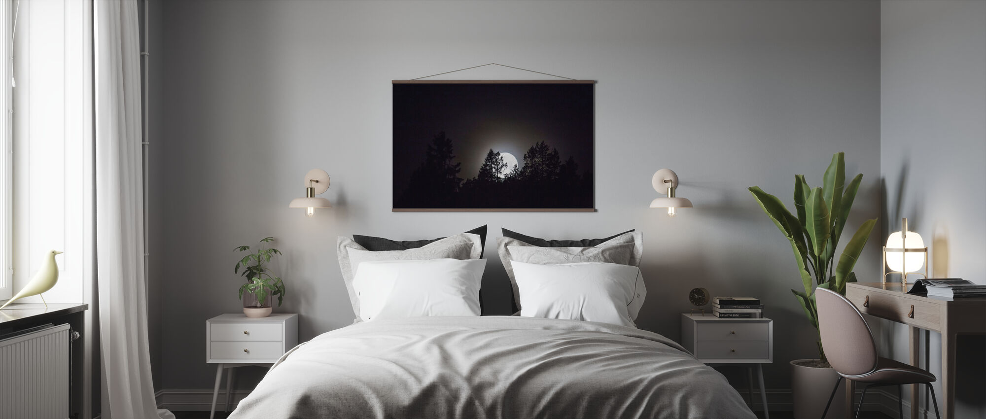 Moonlight over Medelpad, Sweden, Europe - Poster - Bedroom