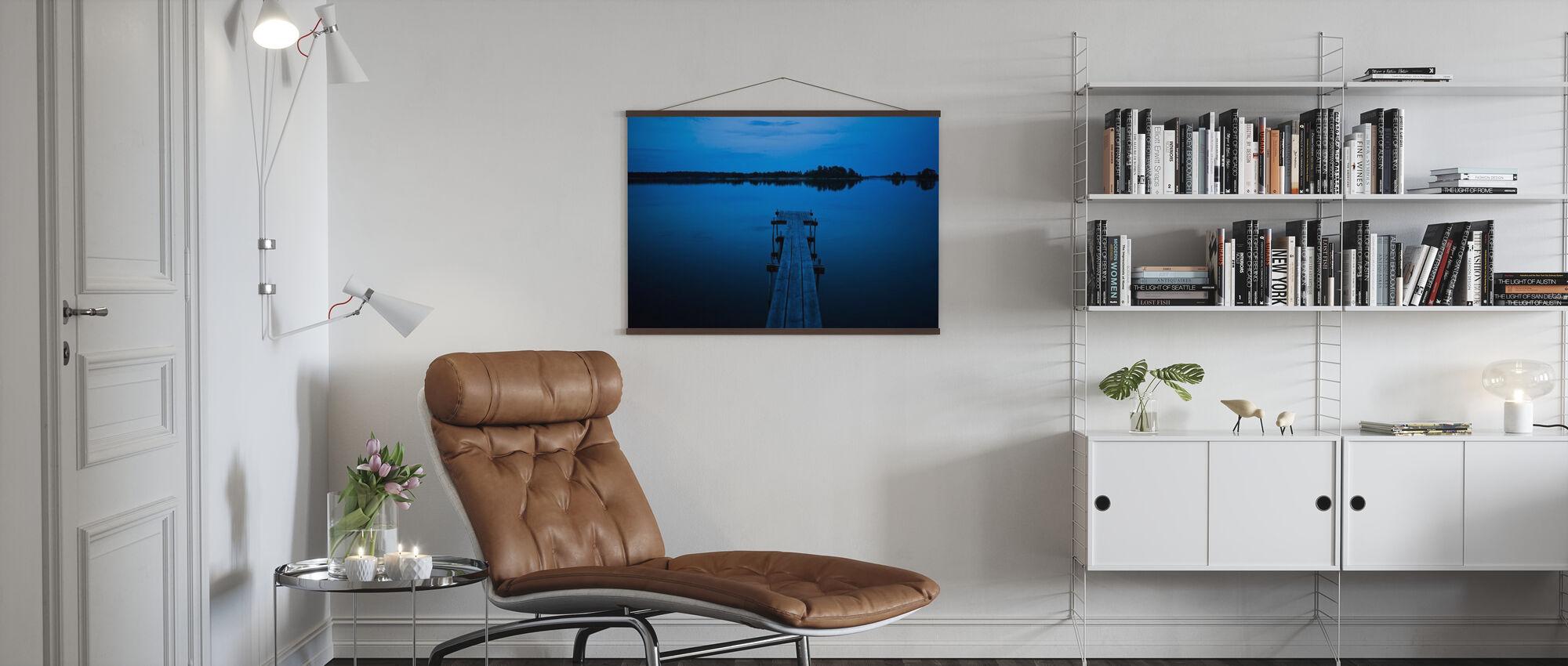 Wooden Pier at Dusk, Sweden - Poster - Living Room