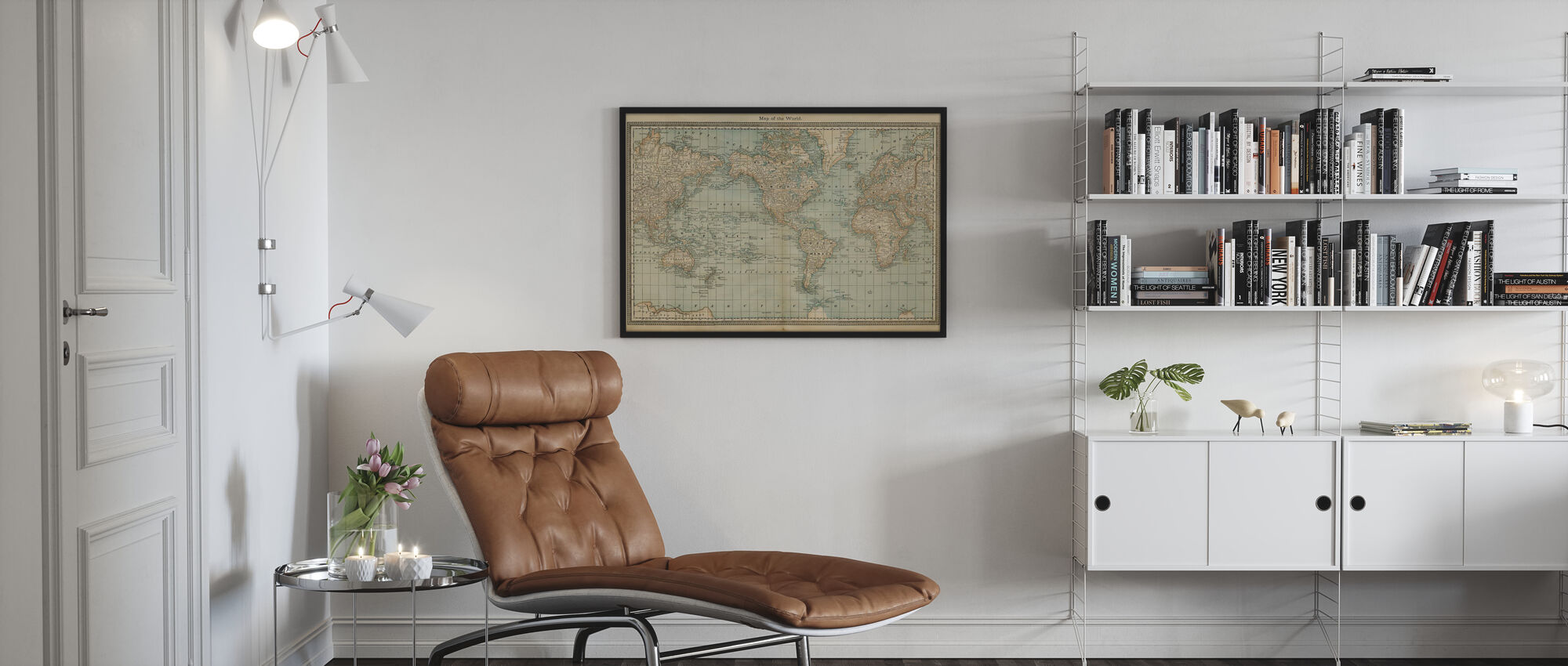 Pale Vintage World Map - Framed print - Living Room