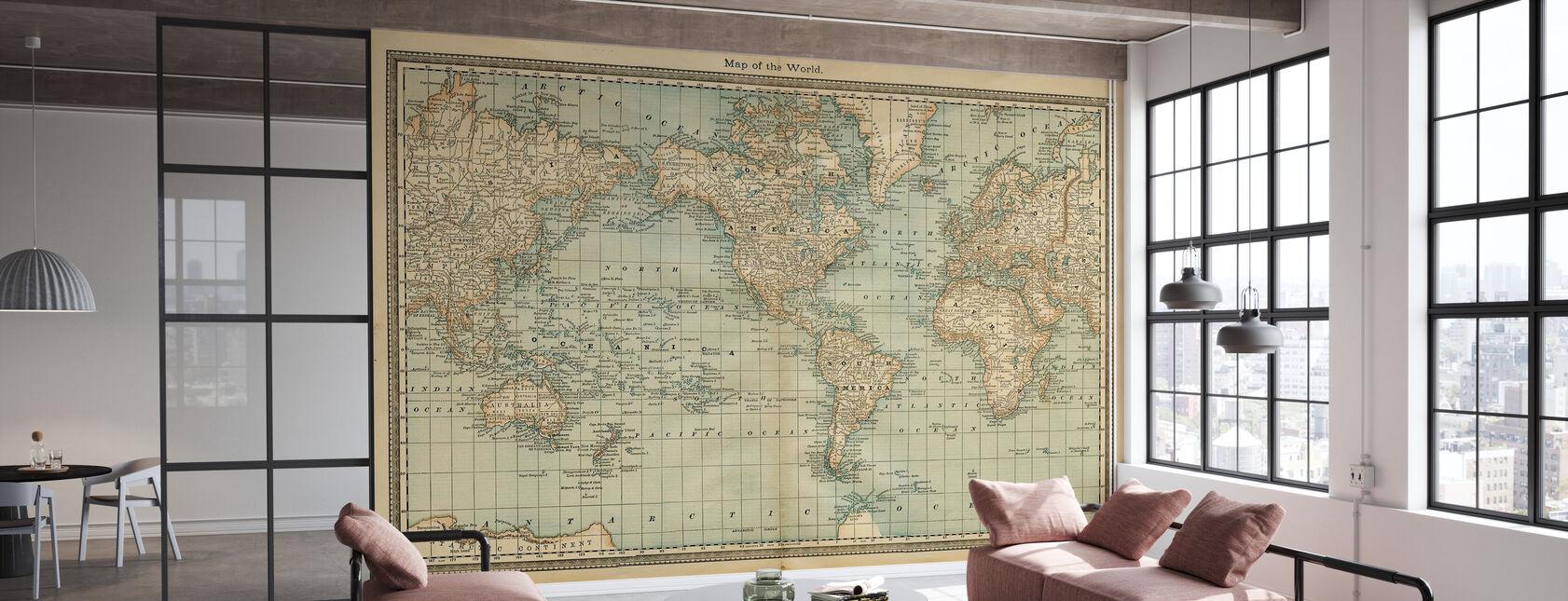 Pale Vintage World Map - Wallpaper - Office