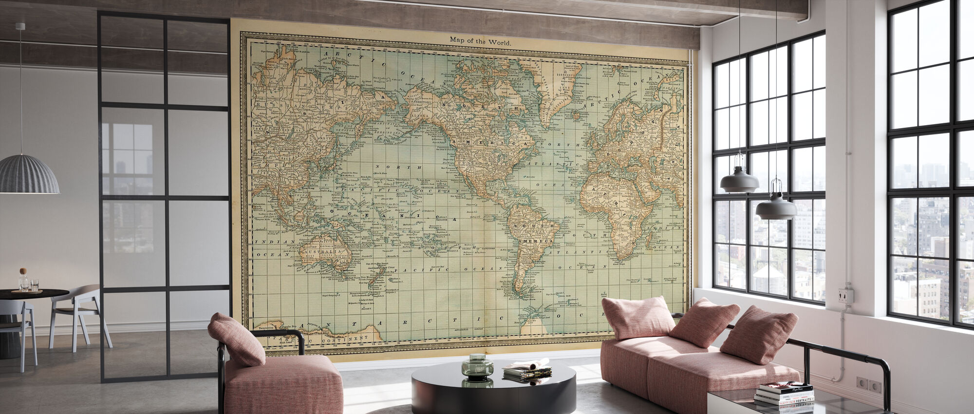 Pale Vintage World Map - Wallpaper - Office
