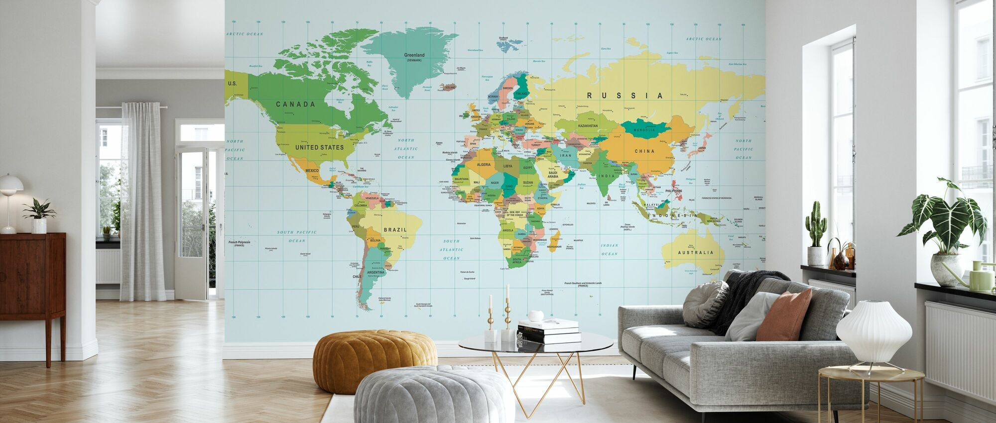 Political World Map - Wallpaper - Living Room