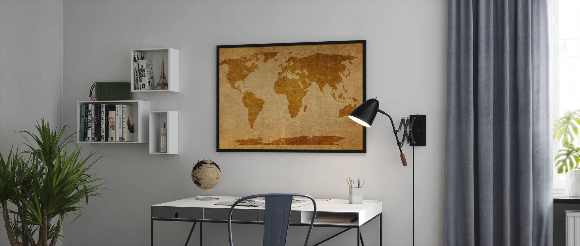 Sepia World Kort - Innrammet bilde - Kontor