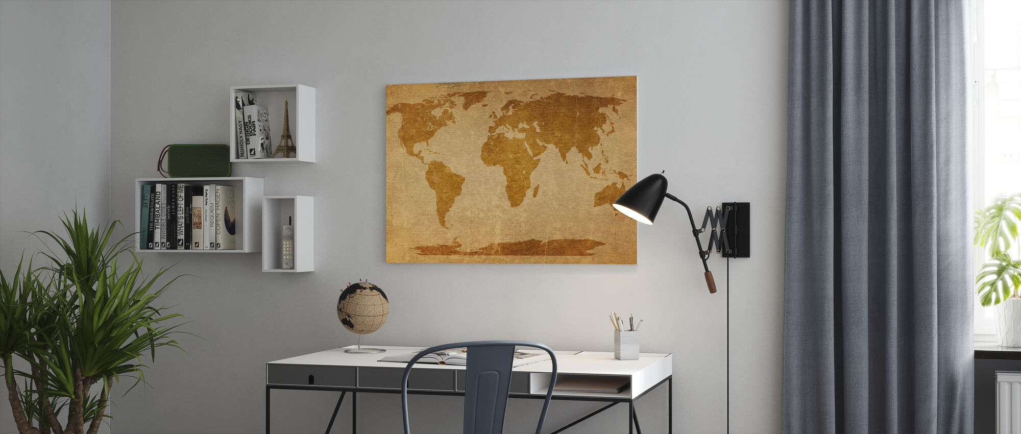 Sepia Weltkarte - Leinwandbild - Büro