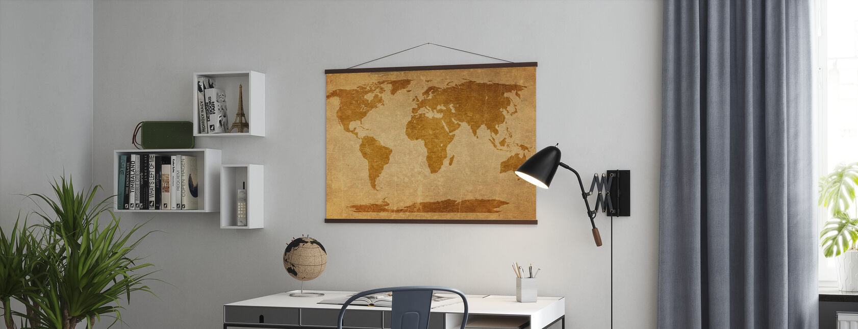 Sepia Wereld Kaart - Poster - Kantoor
