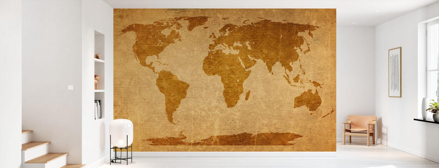 Sepia World Kartta - Tapetti - Aula