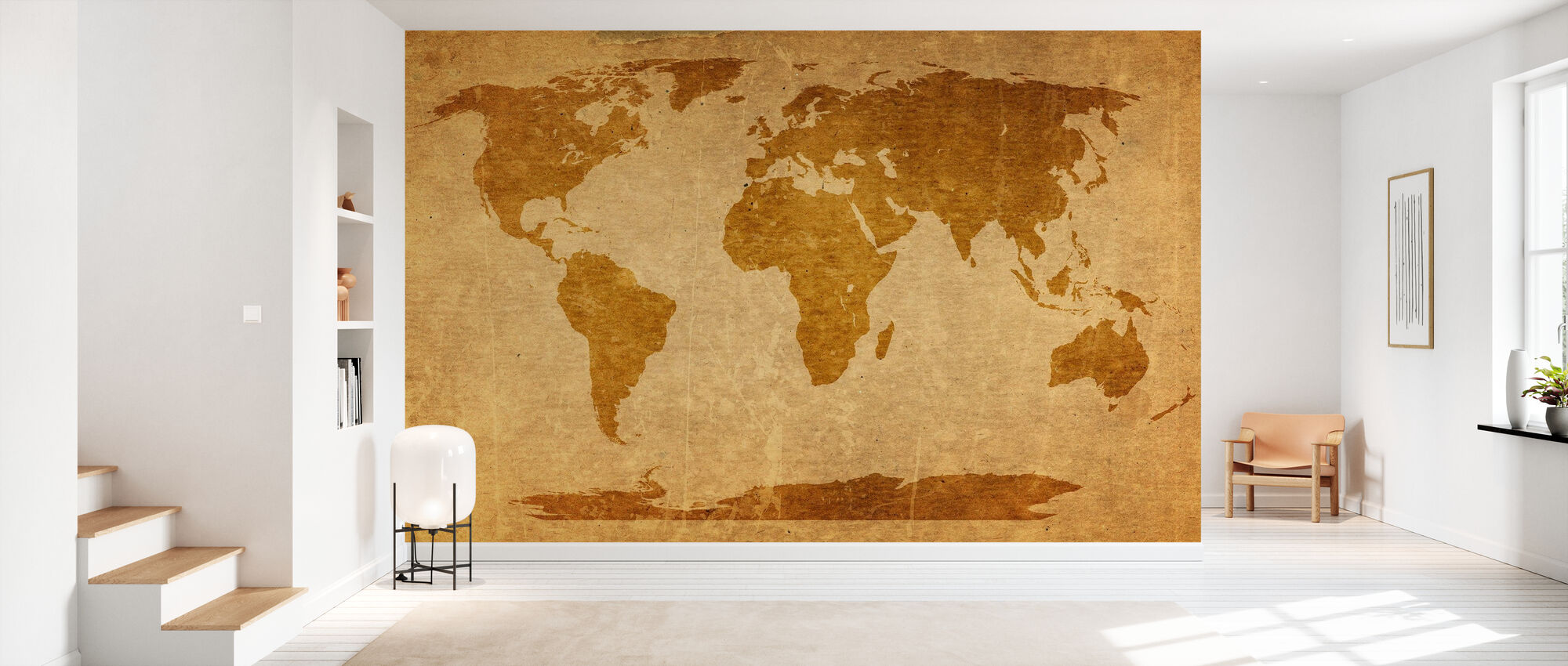 Sepia World Map - Wallpaper - Hallway
