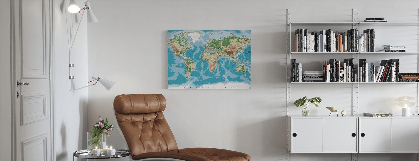 Weltkarte mit Höhen-Tönungen - Leinwandbild - Wohnzimmer