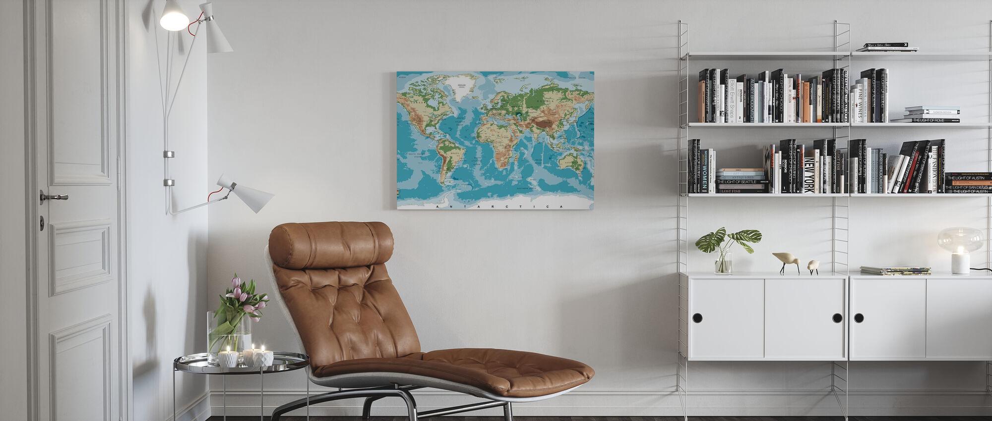 Maailmankartta korkeussävyillä - Canvastaulu - Olohuone