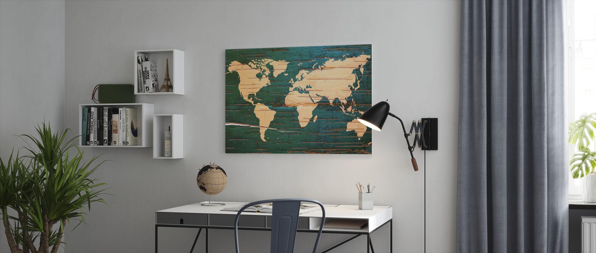 Weltkarte auf Holzwand - Leinwandbild - Büro