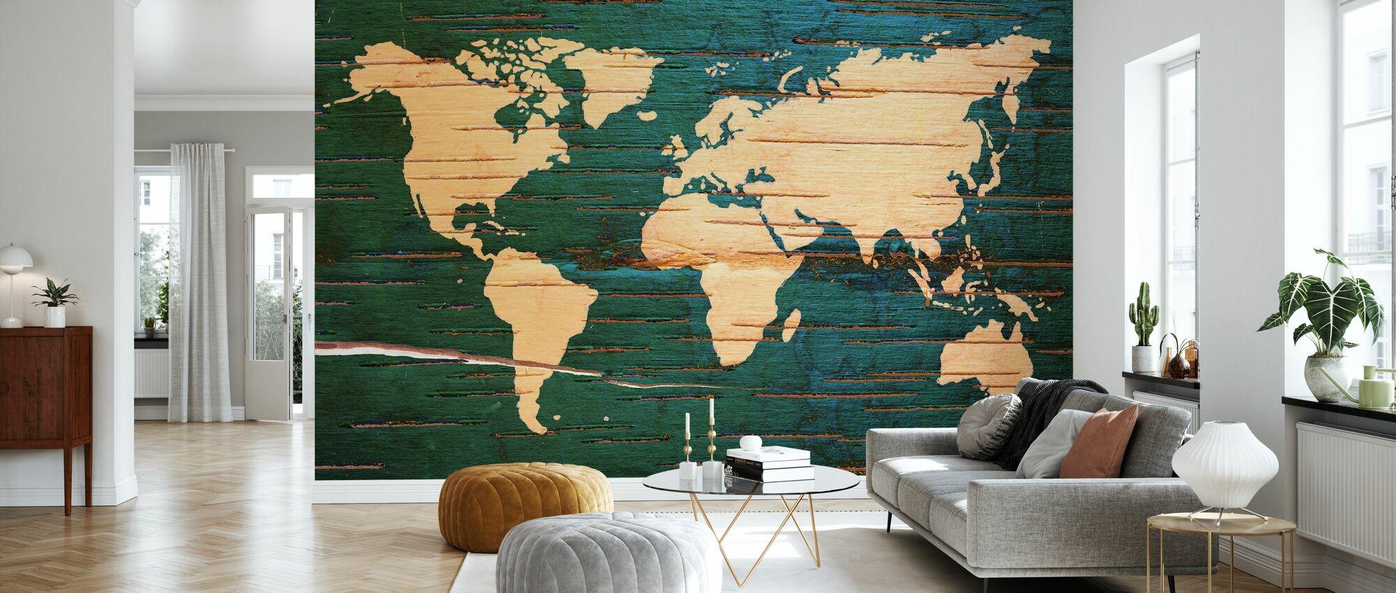 Weltkarte auf Holzwand - Tapete - Wohnzimmer