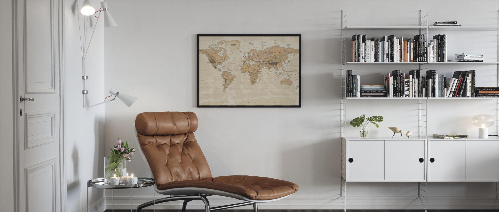 Beige and Green World Map - Framed print - Living Room