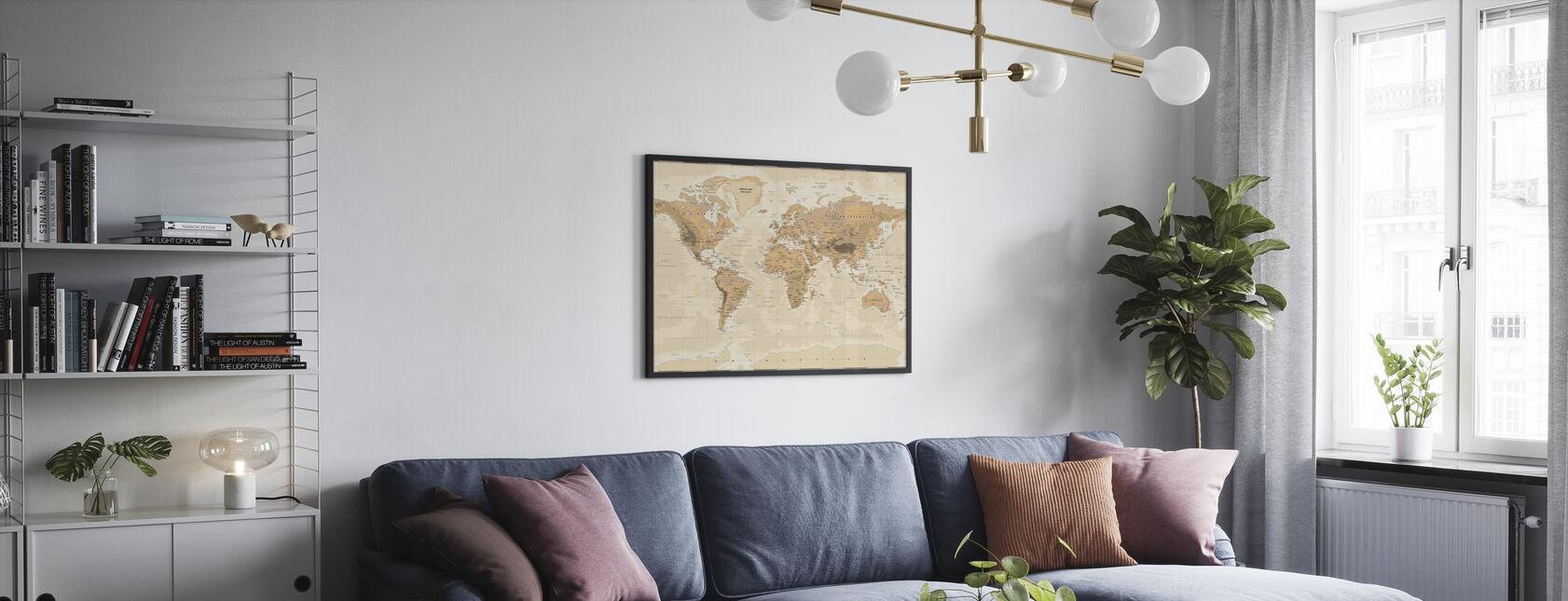 Beige og Grønt Verdenskart - Plakat - Stue