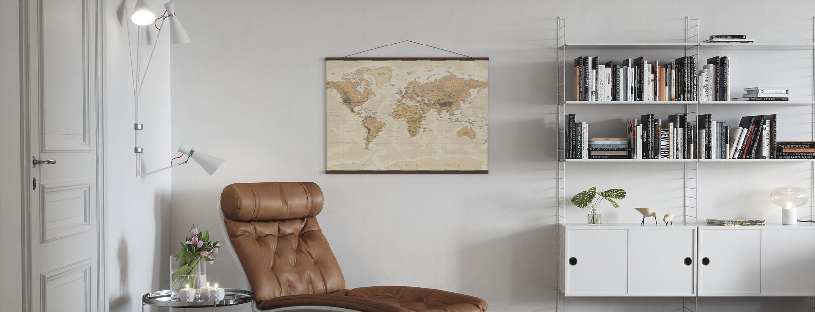 Beige ja vihreä maailmankartta - Juliste - Olohuone