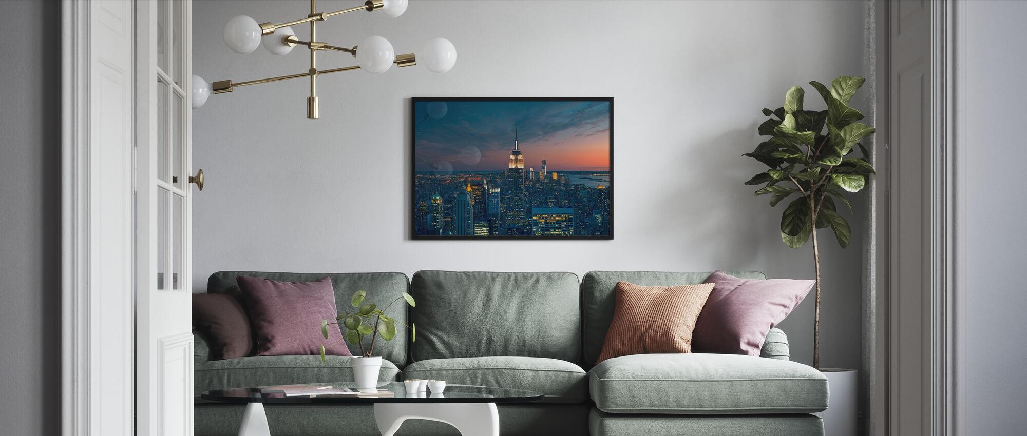 Flyfoto på Manhattan på Sunset - Innrammet bilde - Stue