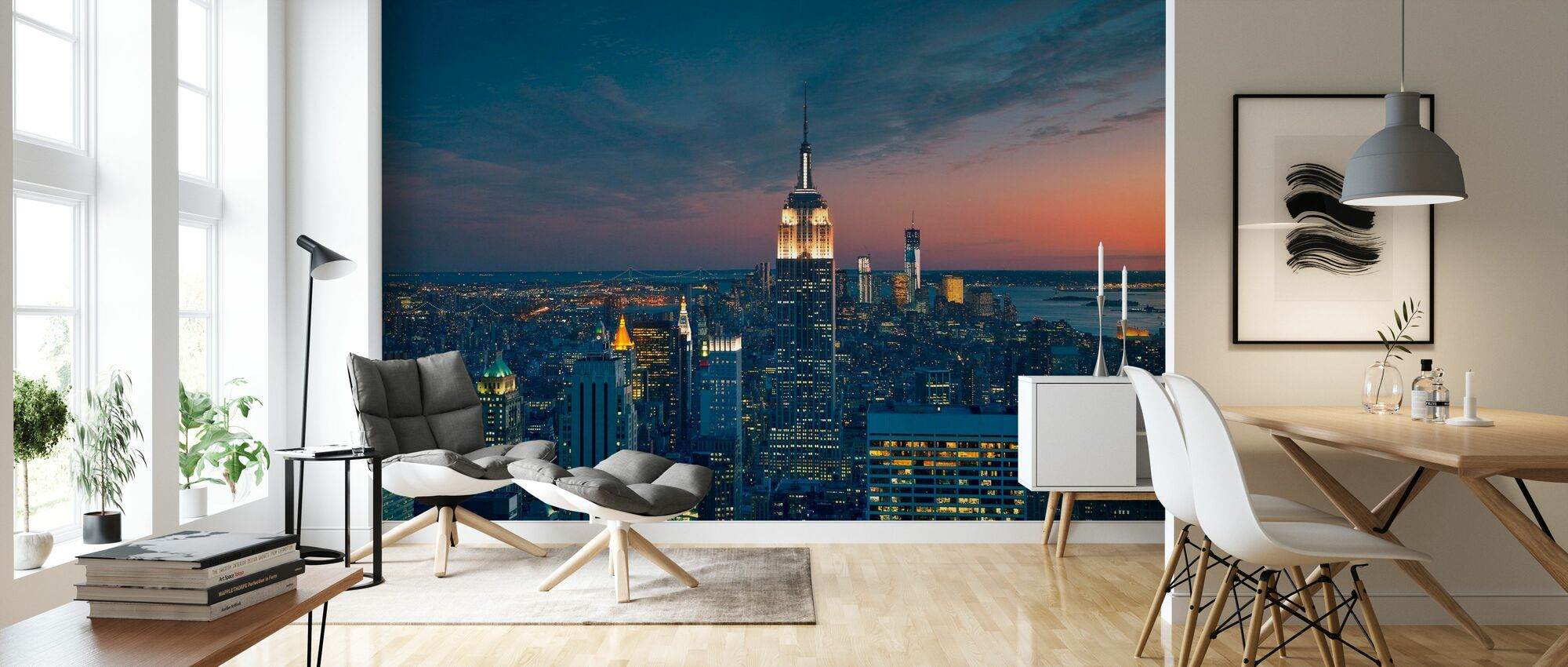 Flygutsikt över Manhattan vid Sunset - Tapet - Vardagsrum