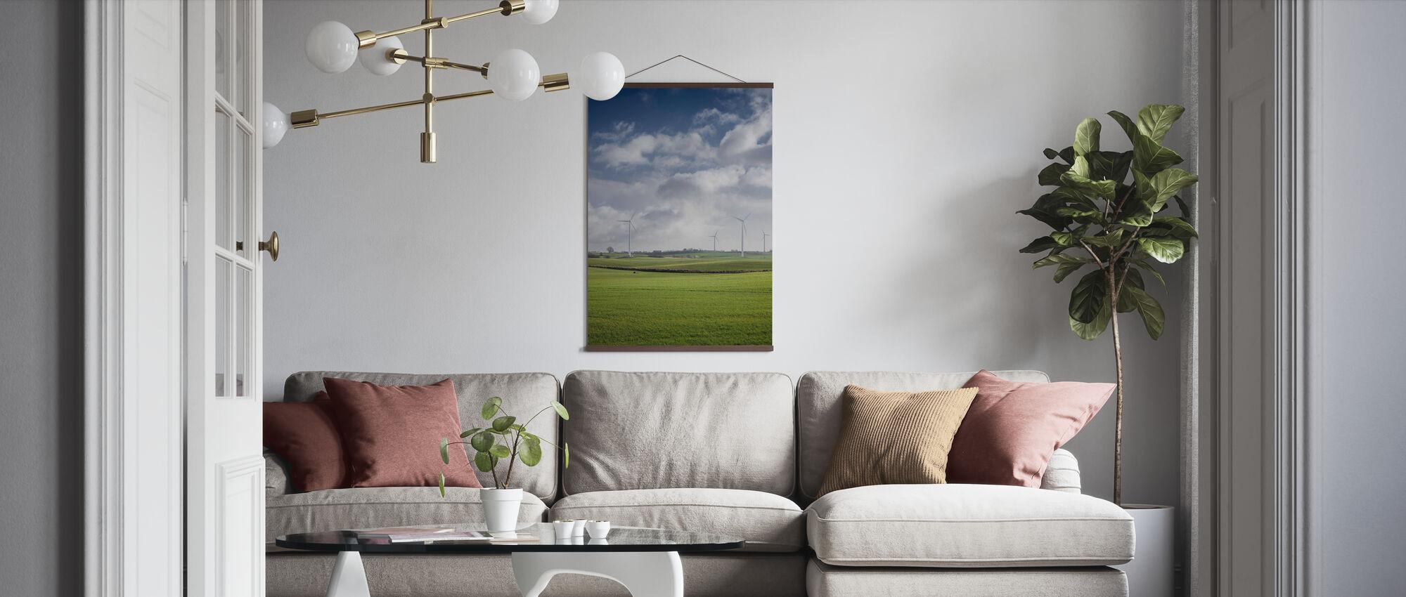 Windmill in Green Fields of Skåne, Sweden - Poster - Living Room