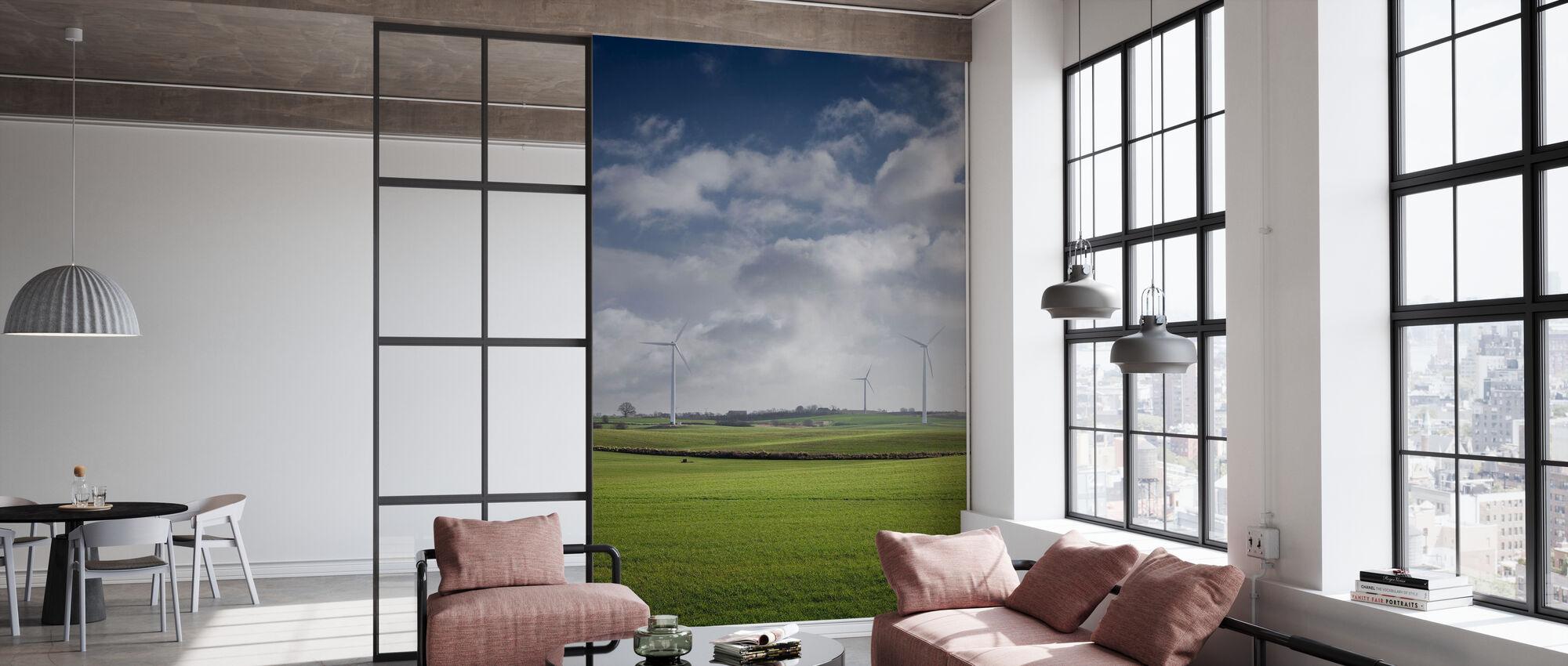 Windmolen in de groene velden van Skåne, Zweden - Behang - Kantoor