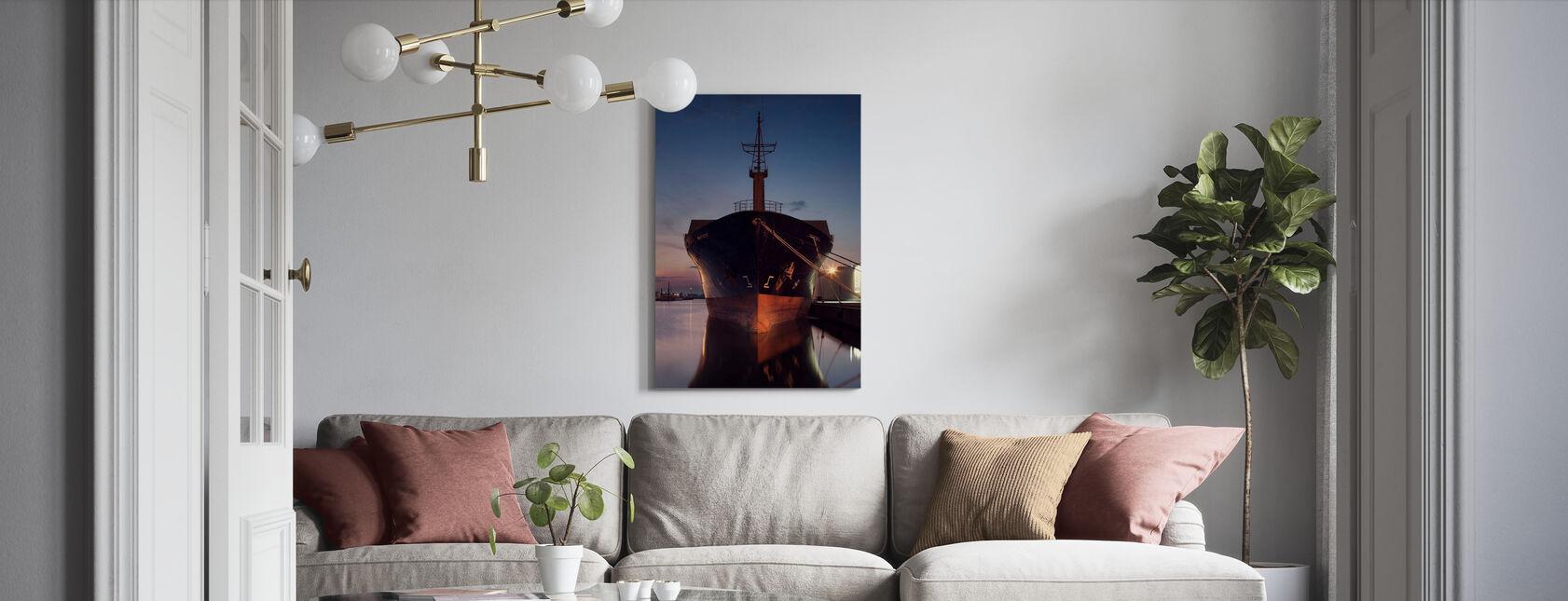Ship in Eastern Harbor, Malmö Sweden - Canvas print - Living Room