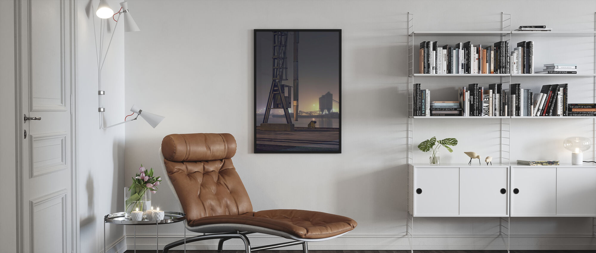 Foggy Harbour in Malmö, Sweden - Poster - Woonkamer
