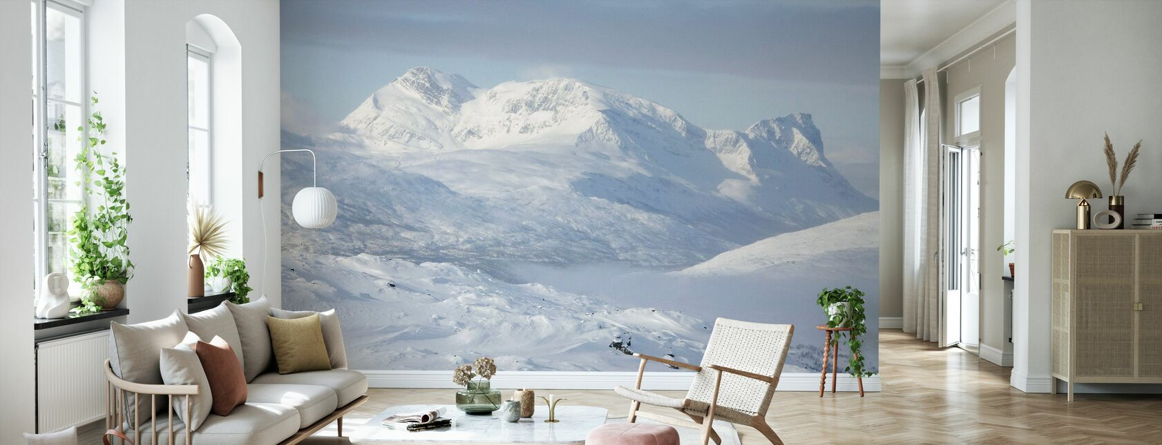 Snowy Mountains in Lapland, Sweden - Wallpaper - Living Room