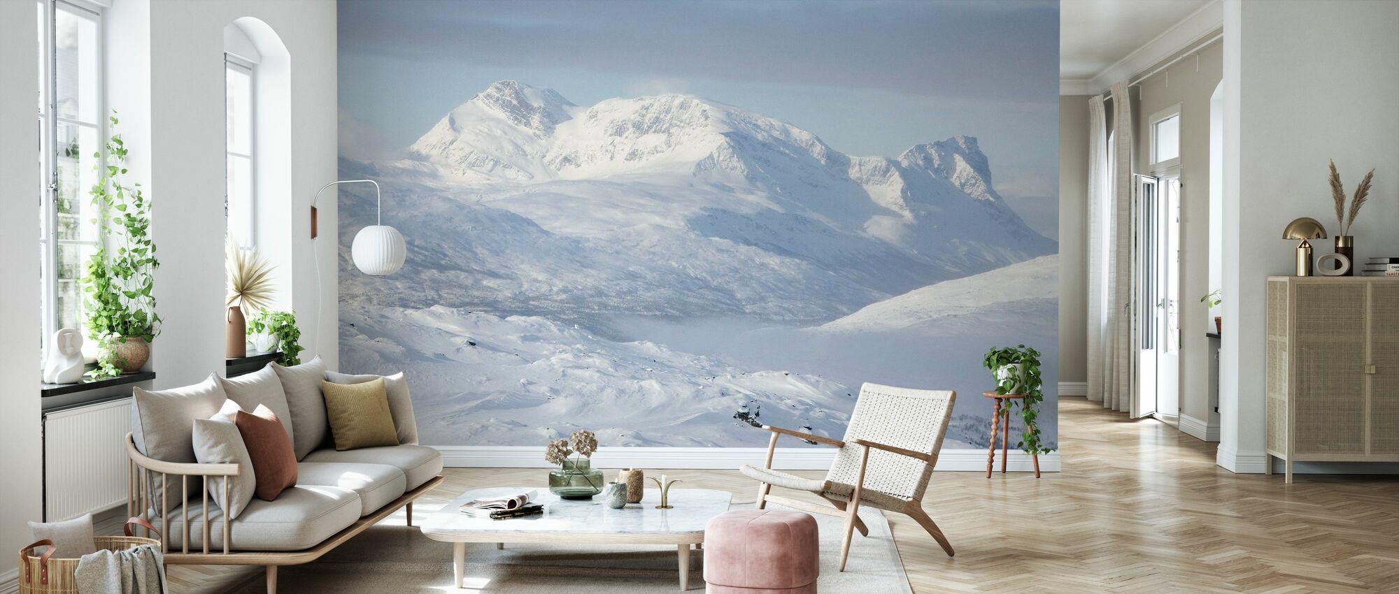 Snødekte Fjell i Lappland, Sverige - Tapet - Stue