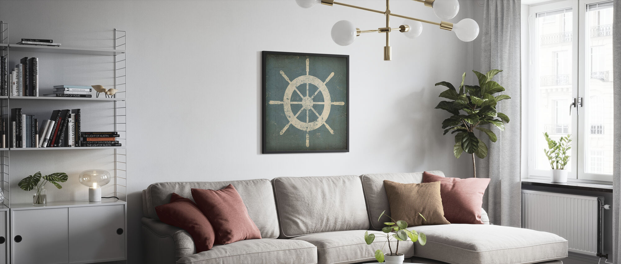 Nautical Shipwheel - Framed print - Living Room