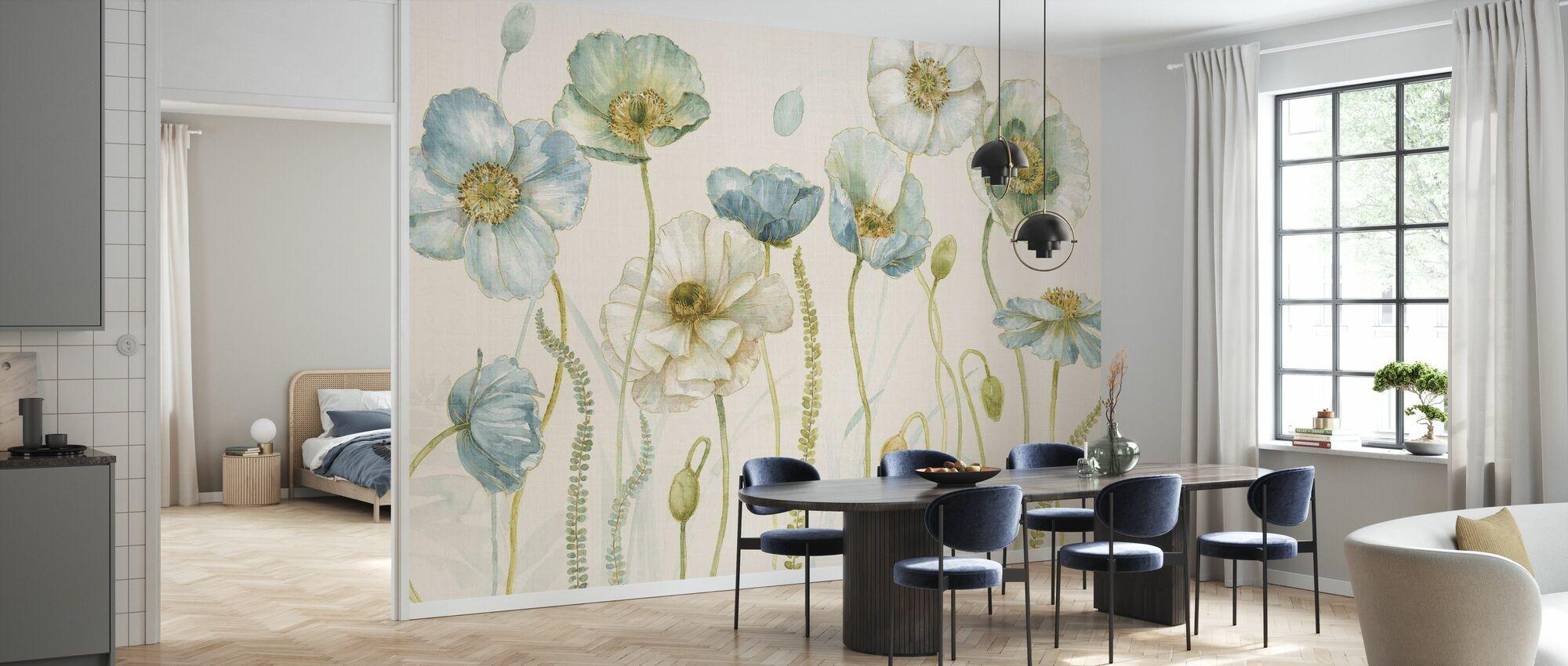My Greenhouse Flowers on Linen - Cream - Wallpaper - Kitchen