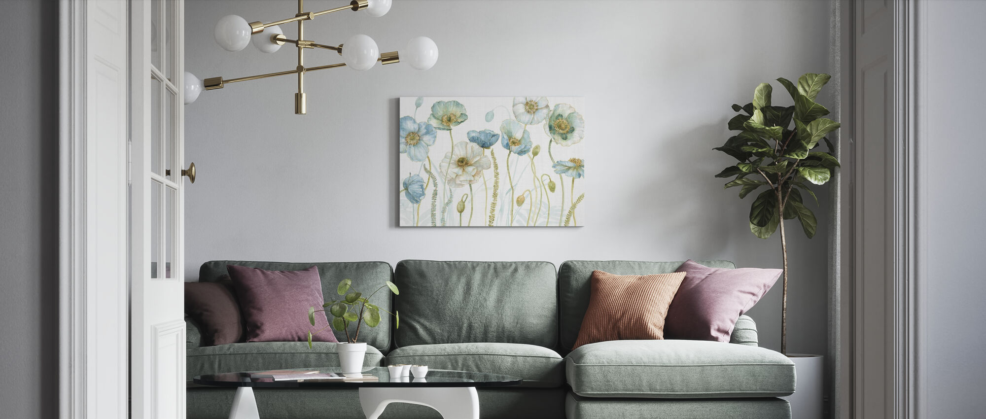 My Greenhouse Flowers on Linen - Canvas print - Living Room