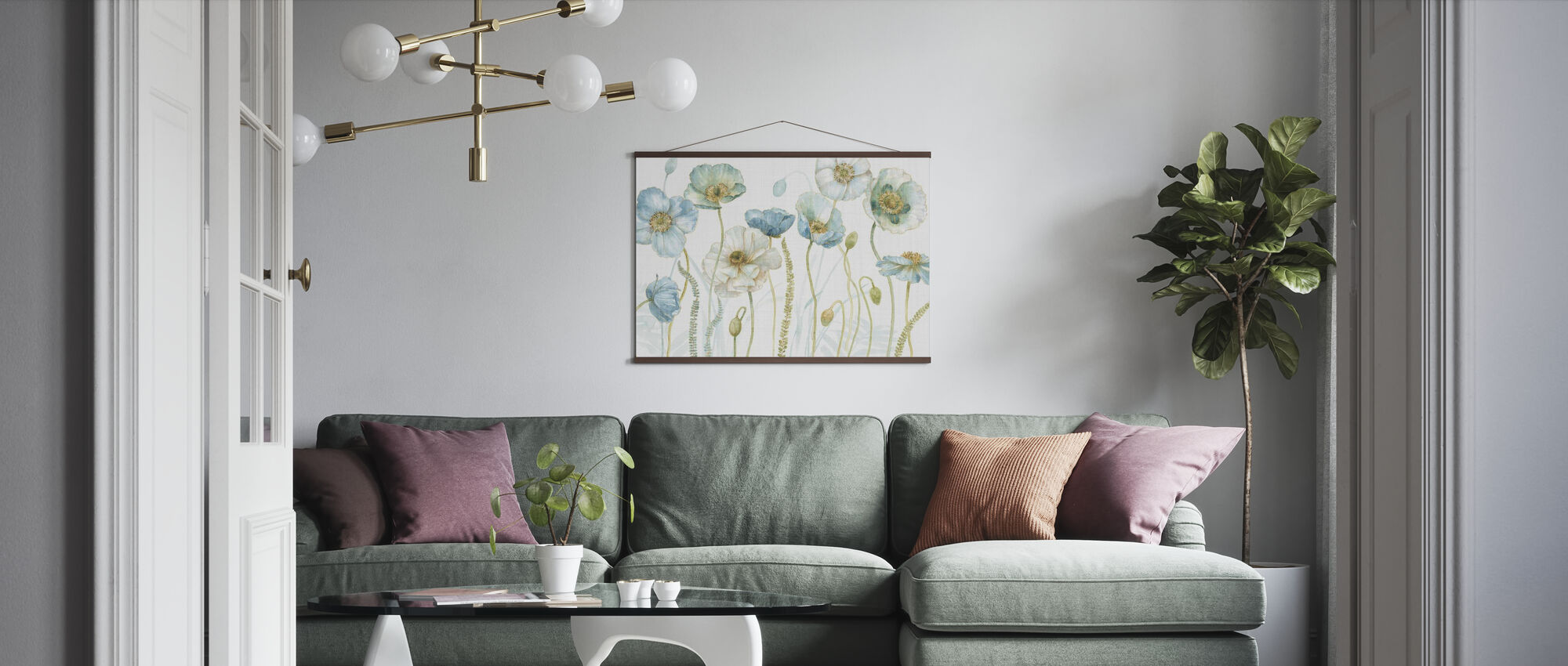 My Greenhouse Flowers on Linen - Poster - Living Room