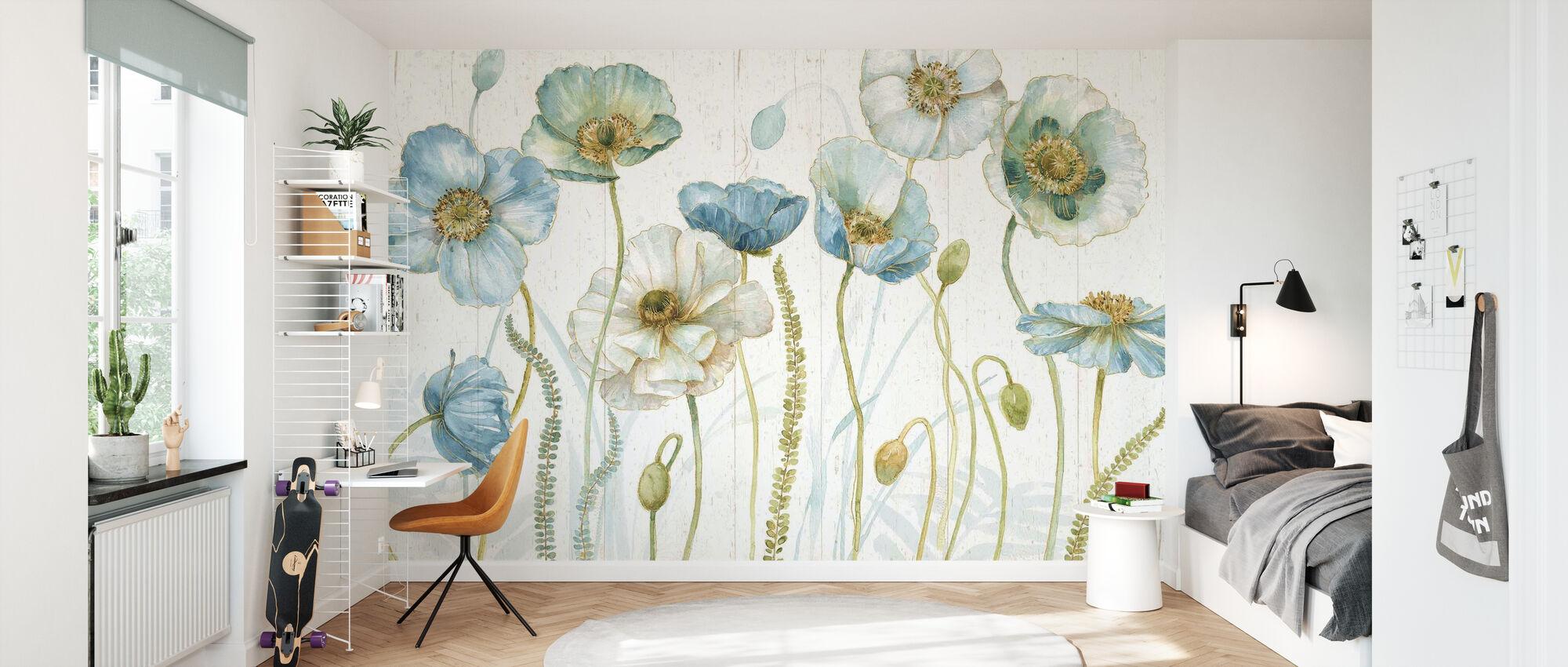 My Greenhouse Flowers on Wood - Wallpaper - Kids Room