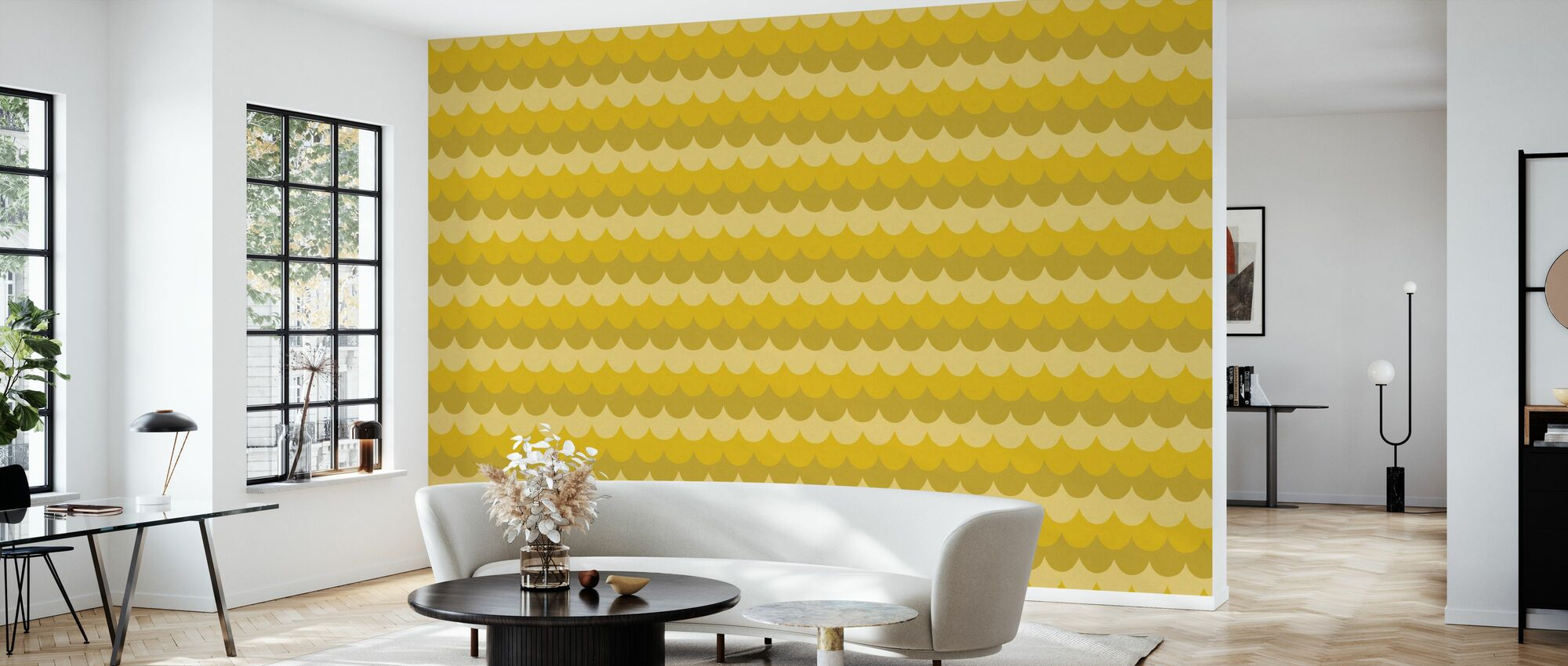 Flow Yellow - Wallpaper - Living Room