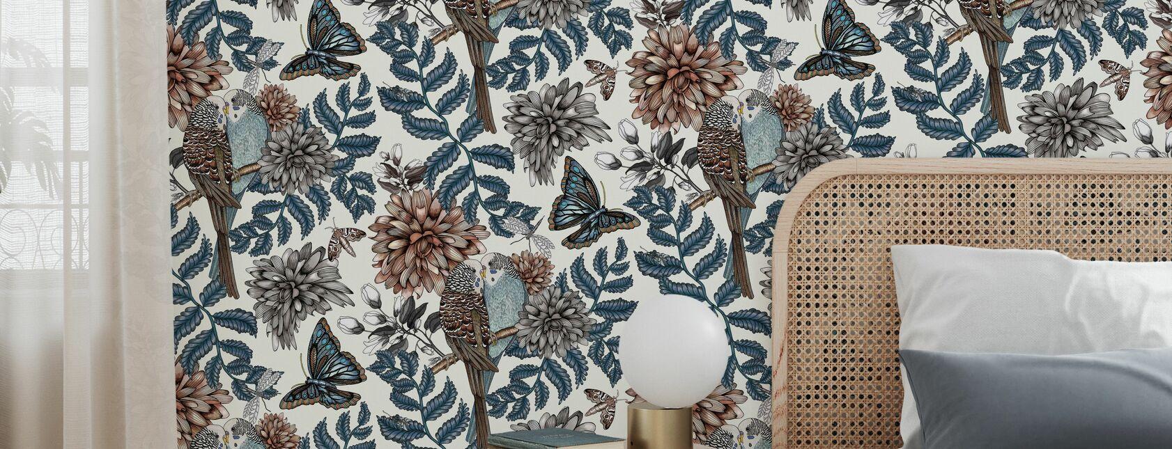 Lovebirds White - Small - Wallpaper - Bedroom