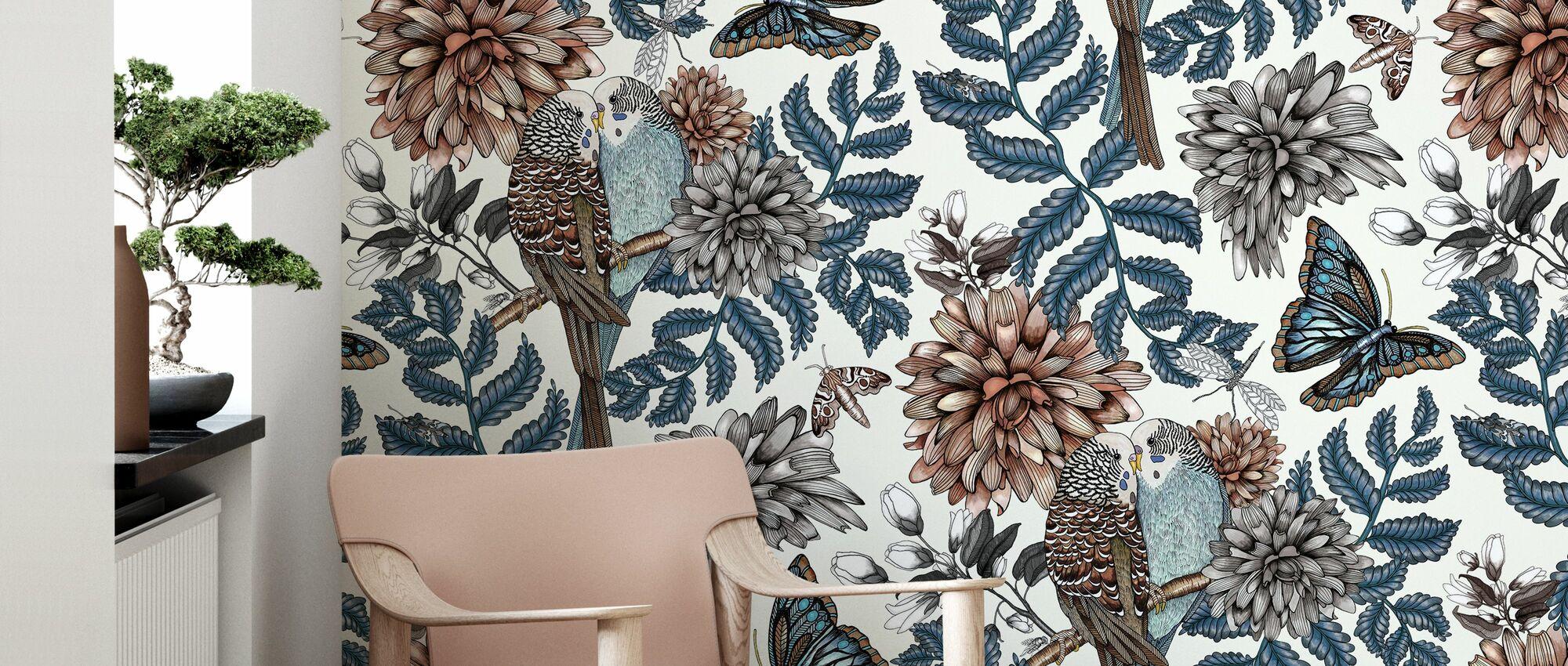 Lovebirds White - Large - Wallpaper - Living Room