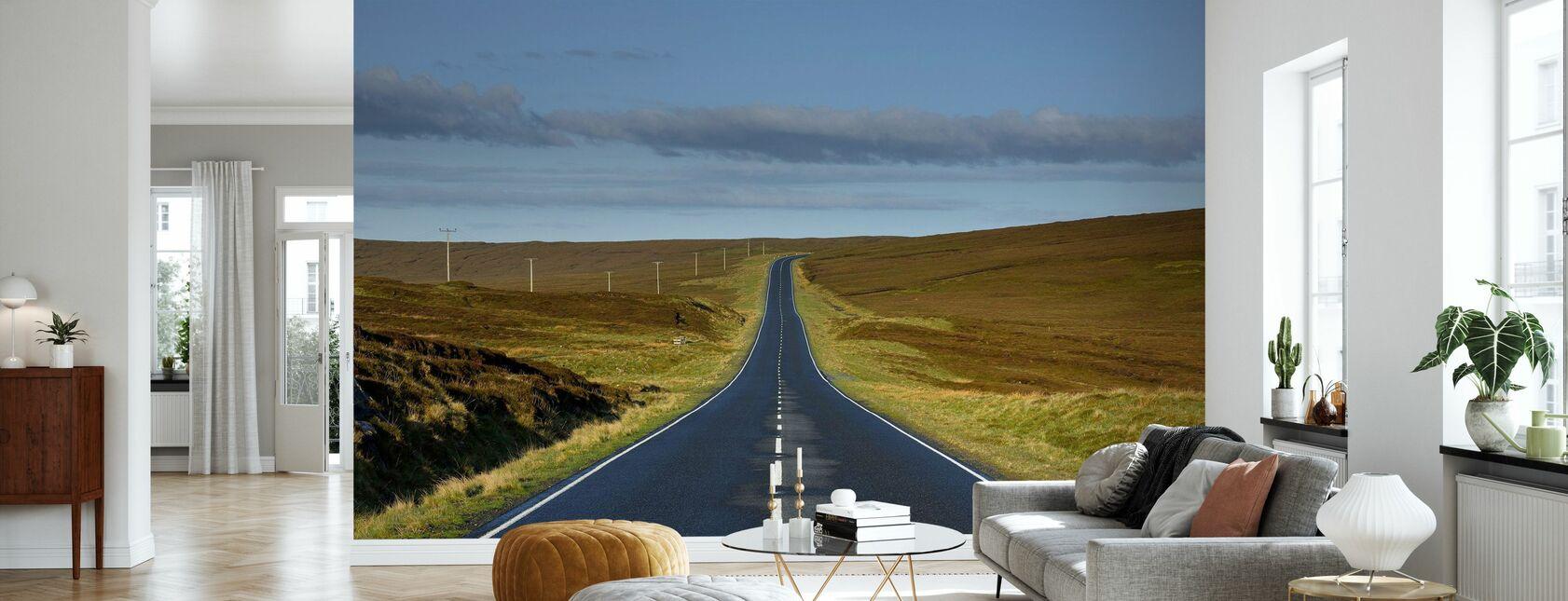 Empty Road in Shetland, Scotland - Wallpaper - Living Room