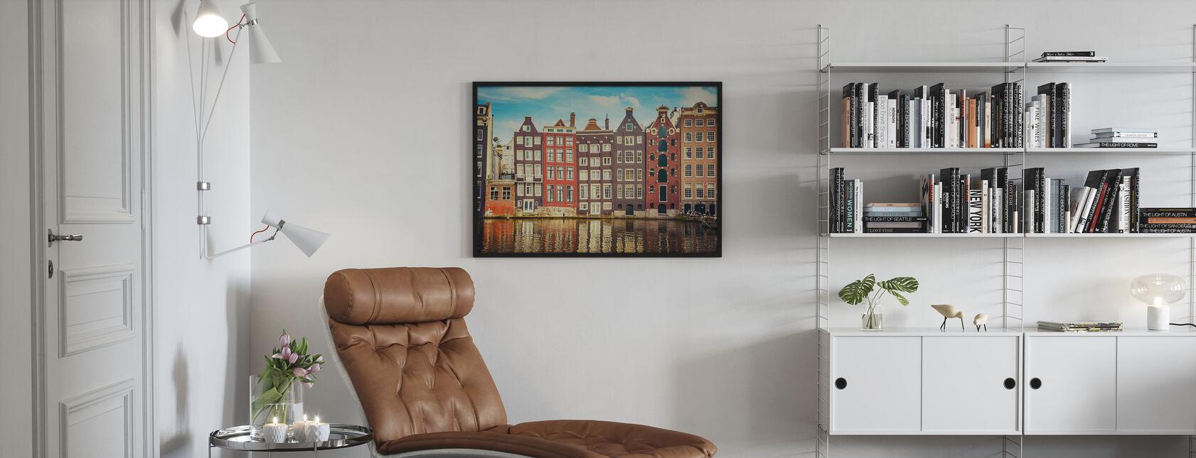 Amsterdam Hus med vann - Innrammet bilde - Stue
