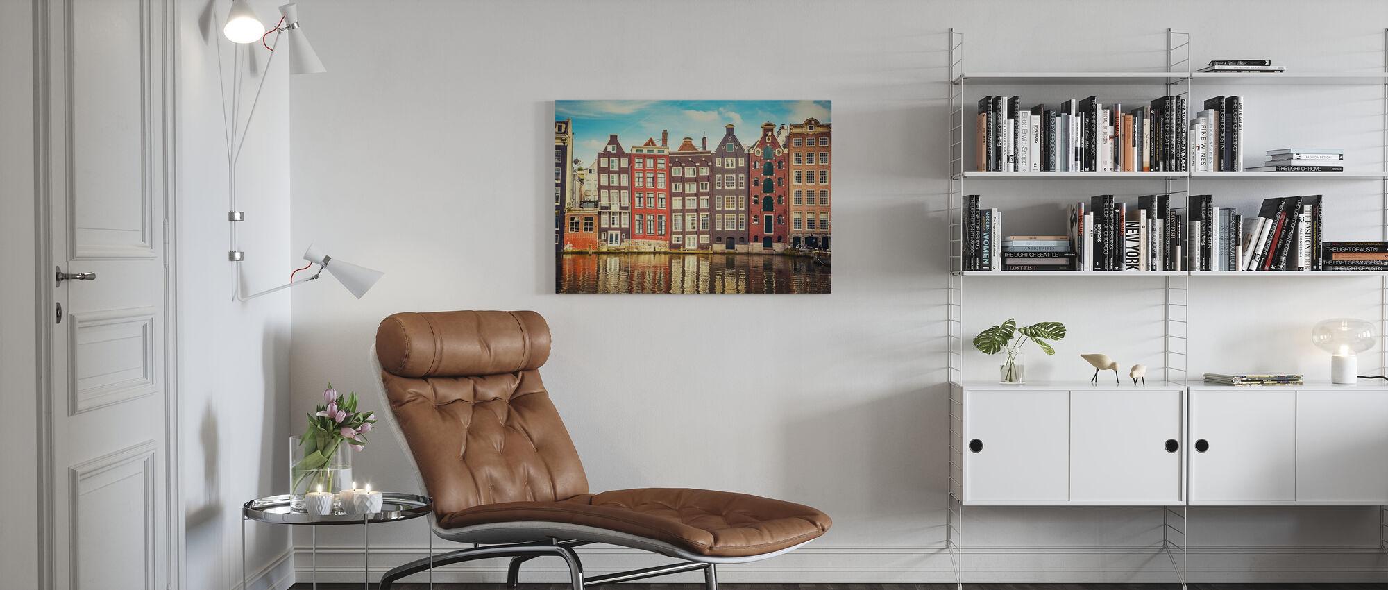 Amsterdam Häuser mit Wasser - Leinwandbild - Wohnzimmer