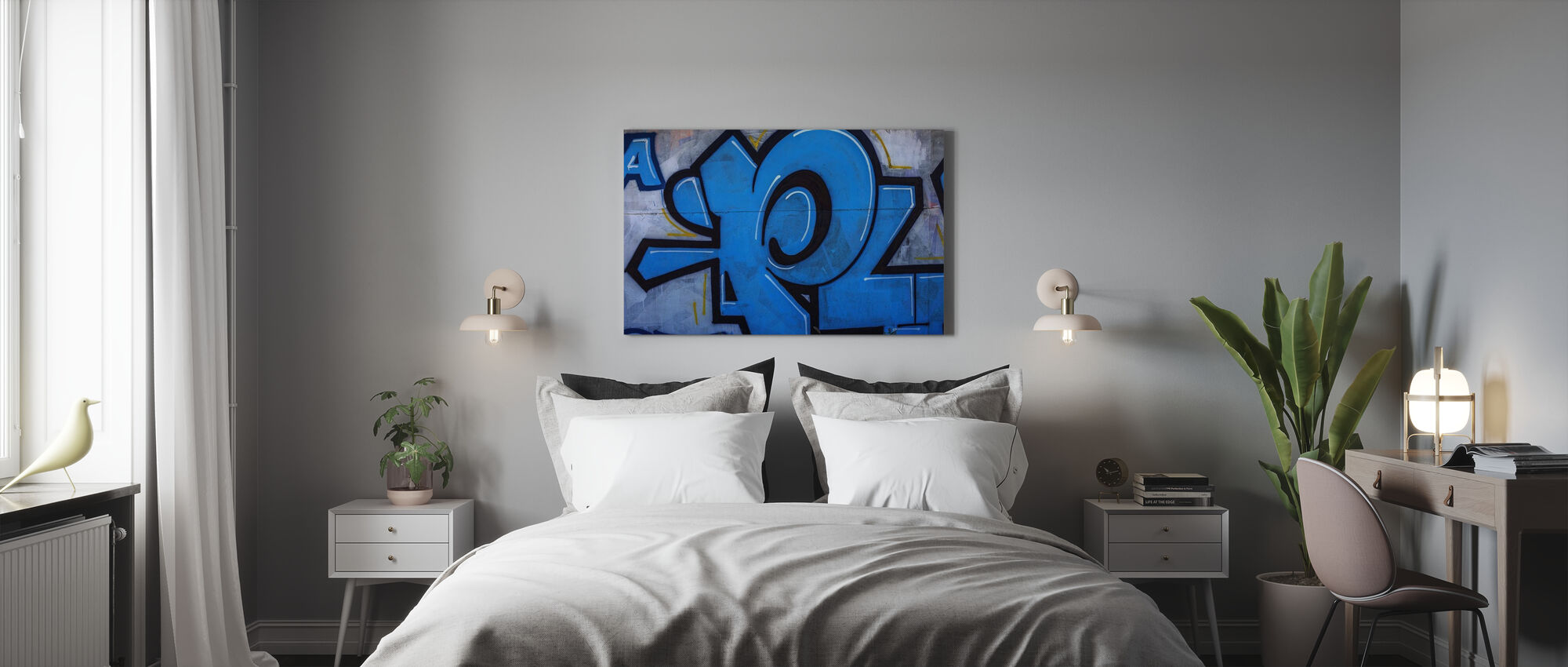 Blue Detail from Graffiti Wall - Canvas print - Bedroom