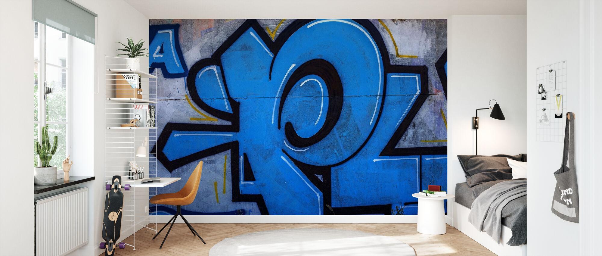 Blue Detail from Graffiti Wall - Wallpaper - Kids Room
