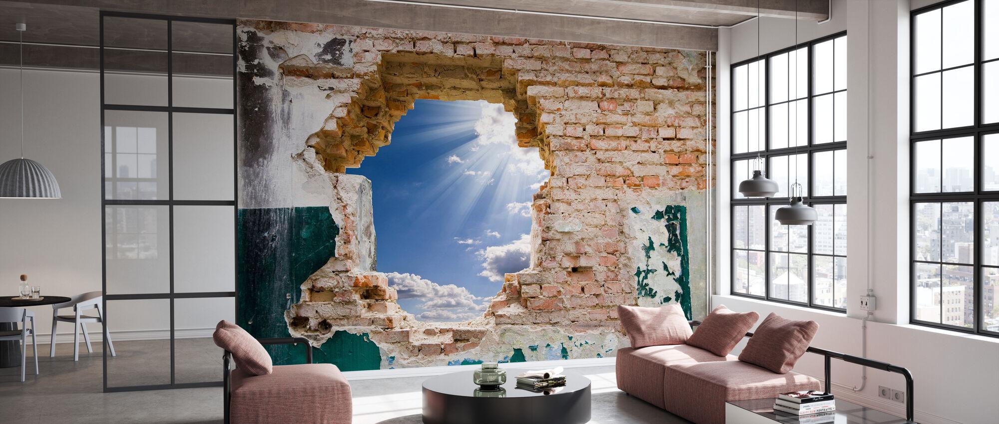 Blå himmel i en gammel mur - Tapet - Kontor