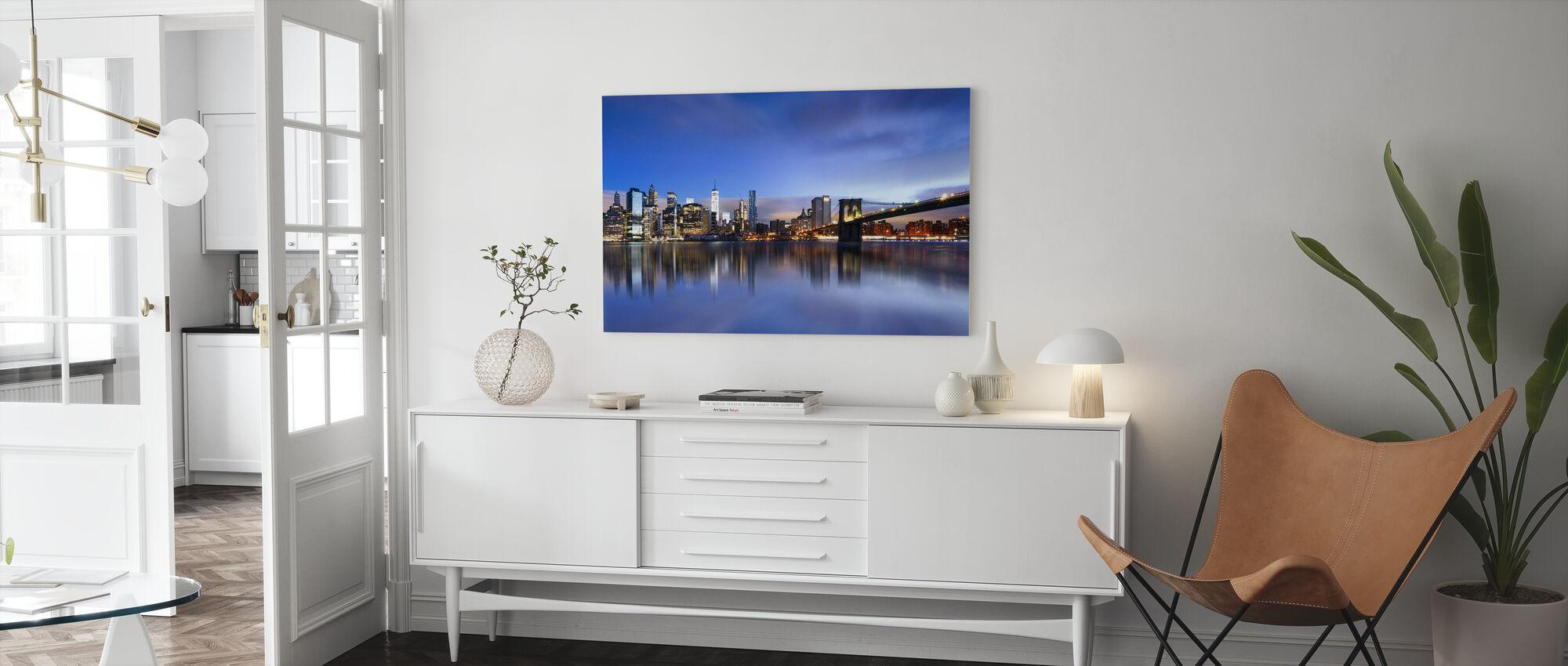 Blue Sunrise over Manhattan - Canvas print - Living Room