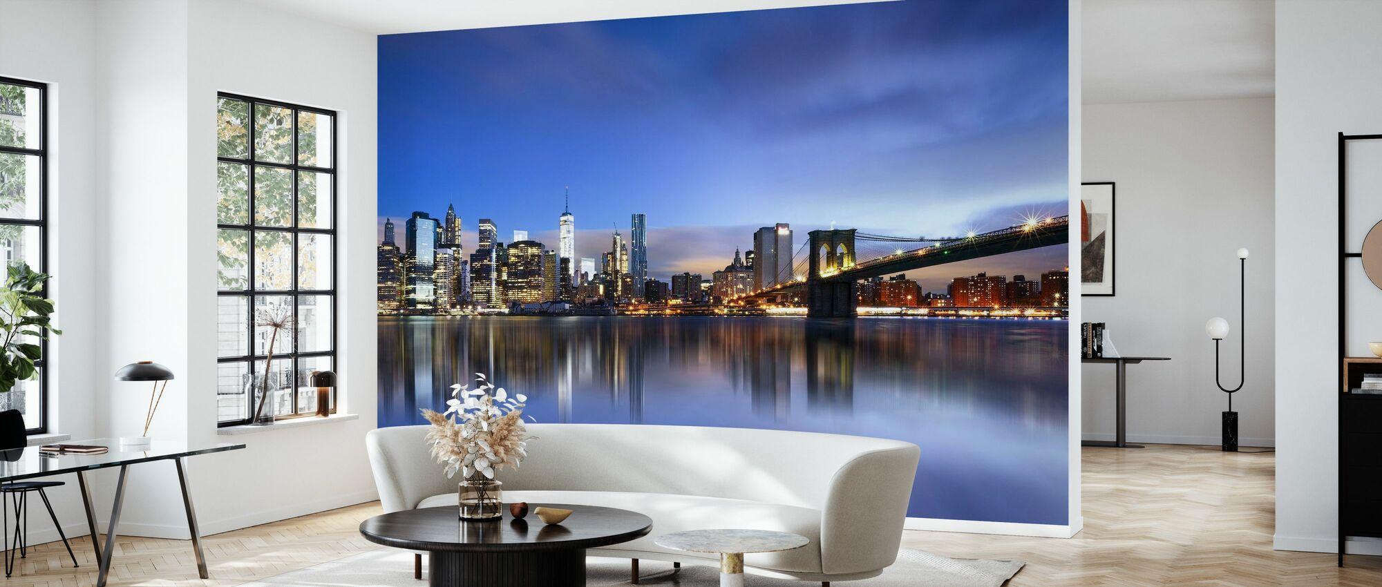 Blå soluppgång över Manhattan - Tapet - Vardagsrum