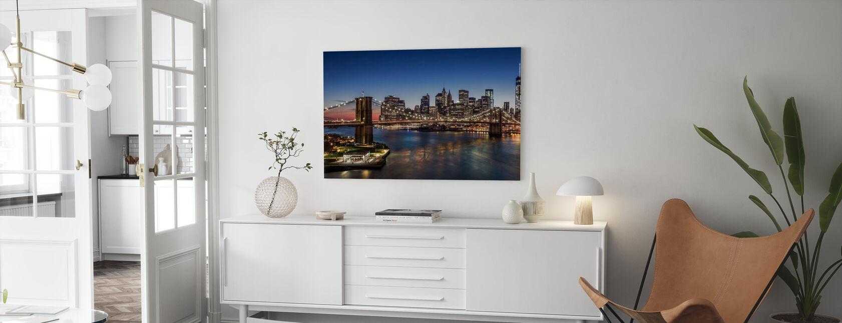 Brooklyn Bridge og Manhattan - Lerretsbilde - Stue