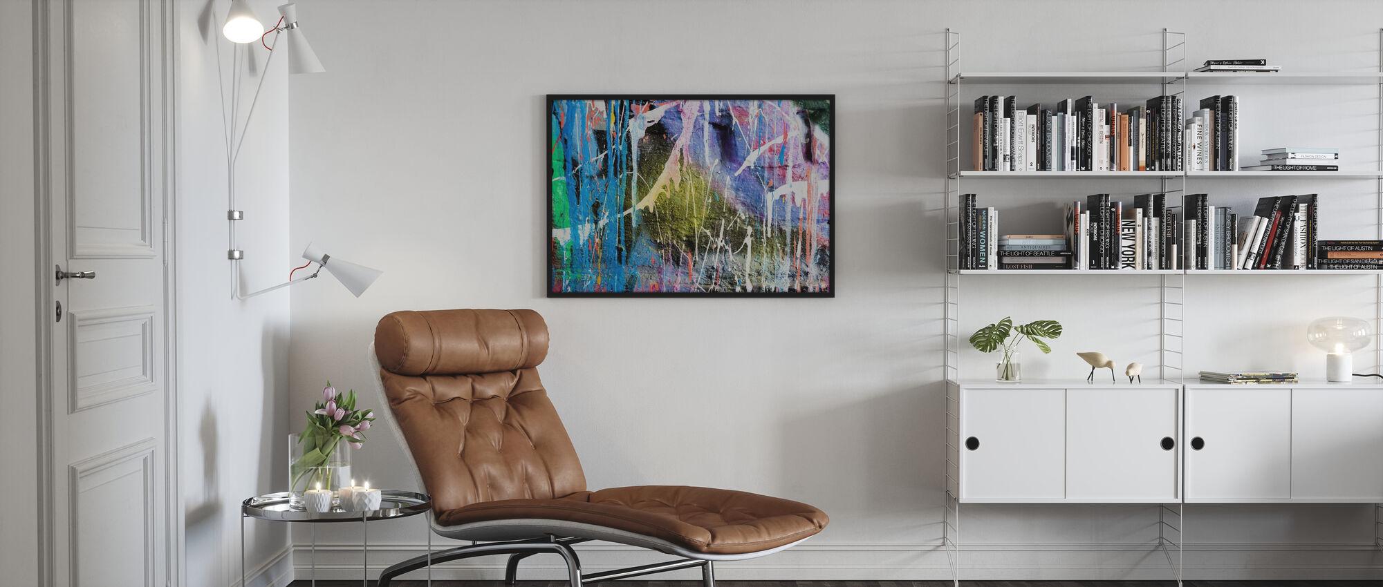 Dripping Paint Graffiti Wall - Framed print - Living Room